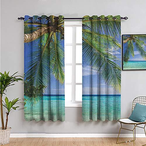 Cortinas opacas para decoración de sala de estar, 160 cm de largo, vista paradisíaca tropical en maldivas con palmas azul claro cielo mar imagen 2 paneles conjuntos verde aqua azul W63 x L63 pulgadas