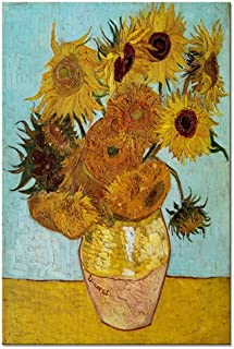 Wieco Art Sunflower by Vincent Van Gogh Oil Paintings Reproduction Large Modern Floral Giclee Canvas Prints Artwork Flowers Pictures on Canvas Wall Art for Bedroom Home Decorations L