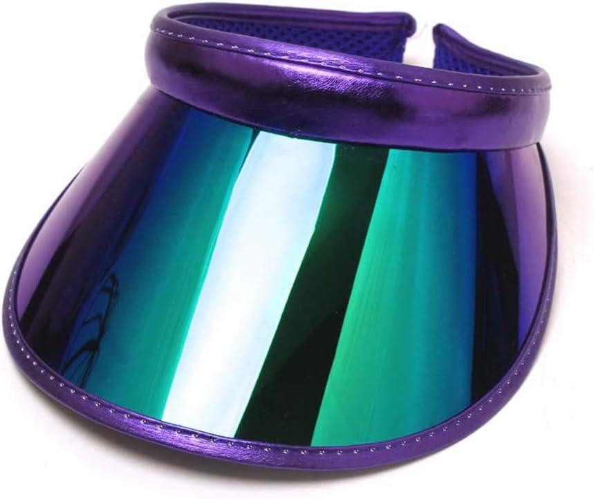 suoryisrty Sun Visors Hat Women Men Wide Brim Sun Visors Hat Topless Sunglasses UV Protection Plastic Panel Sportswear Clip-On Summer Cap Deep Purple