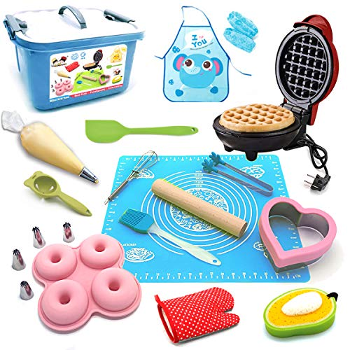 BABYHORSE Kids Junior Tiny Real Easy Bake Kitchen Set and Cook Kit - 15 Pc. Mini Waffle Maker, Chef, Apron, Oven Mitt, Recipes - Easy Baking Real Food Utensils Gift for Boys and Girls Ages Blue