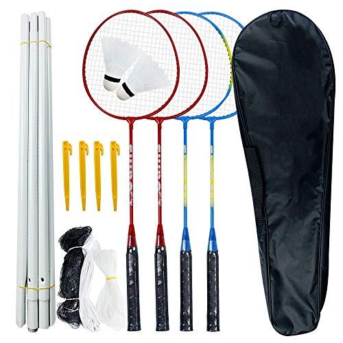 Badminton-Schläger-Kit, 4er-Pack, leichtes Badminton-Schläger-Kombination-Set mit 2 Federbällen und Tragetasche