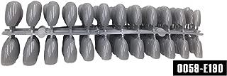 120pcs Short Pointed Coffin False Nail Tips Stiletto False Nails Full Cover Pure Candy Color Ballerinas Press On Nail (Color : E190 Dark Grey)