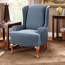 Surefit Stretch Stripe Wing Chair Sofa Slipcover (Navy)
