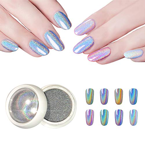 BISHENGYF Polvo de uñas láser fino, polvo holográfico de uñas en polvo de copos de arco iris, cromo brillante, pigmento de manicura para salón de uñas, decoración de uñas
