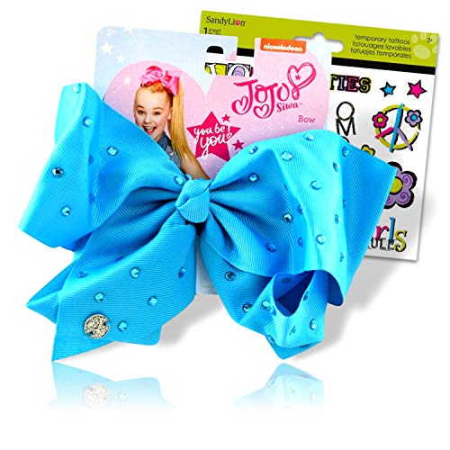 JoJo Siwa Bows Signature Collection Hair Bows for Girls - JoJo Bow Bundled with Best Friends Forever BFF Temporary Tattoos (JoJo Bow Blue with Rhinestones)