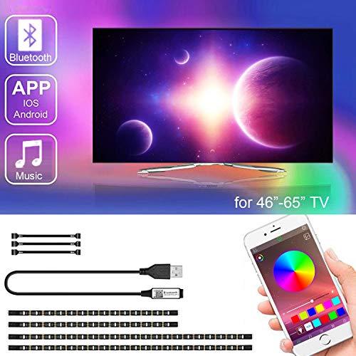LED TV Hintergrundbeleuchtung mit APP-Steuerung, SRUIK Upgrade 3M LED Streifen USB-betrieben für 46-65 Zoll Fernseher, Synchronisierung mit Musik, Vorspannungs Beleuchtung, SMD5050 RGB für Android iOS