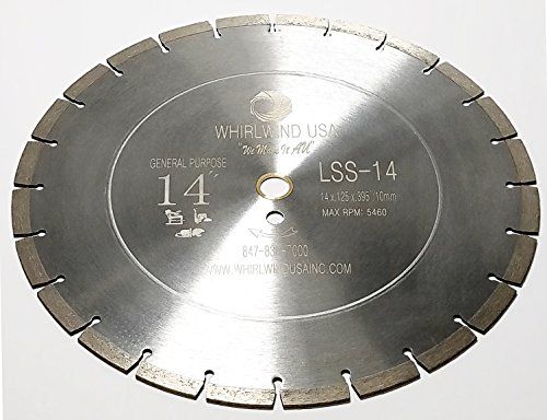 Whirlwind USA LSS 14 Inch Diamond Saw Blade,Dry or Wet Cutting Concrete Saw Blades for Sharp Cutting Concrete Marble Granite Brick Masonry,Broadened Cutter Head