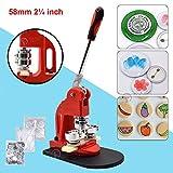 Red Button Maker Machine 58mm 2¼ inch Button Badge Maker Pins Punch Press Machine Aluminum Frame 300pcs Free Button Parts + Circle Cutter (58mm 2¼ inch)