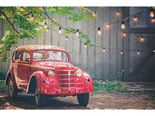 Tête de lit Carton Kraft alvéolaire Cadre Tableau d'image| Voiture Vintage Rouge | 200 x 60 cm | Décoration muraux de Chambre
