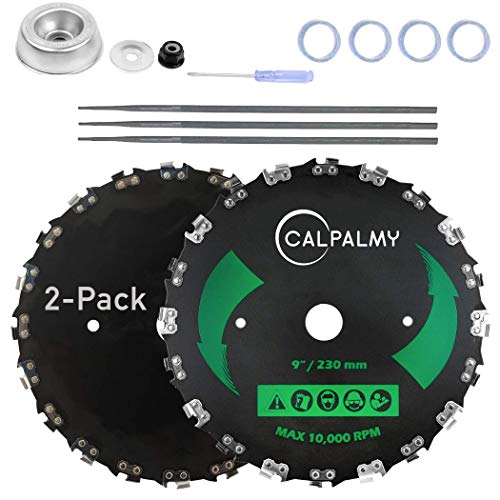 CALPALMY (2-Set) 9' x 20T Chainsaw Tooth Brush Blades Tool Kit, – 2 Blades, 3 Assorted Round Files and 4 Washers   for Cutter, Trimmer, Weed Eater   Made from Carbon Steel, Cuts Like Butter