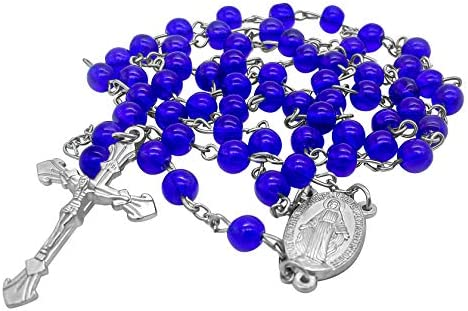 Nazareth Store Catholic Rosary Necklace Round Dark Blue Crystal Beads Miraculous Medal Cross product image