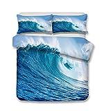 AYMAYO Bettwäsche-Set mit Hawaii Strand Meer Welle Motiv, 135 x 200 cm - Blau