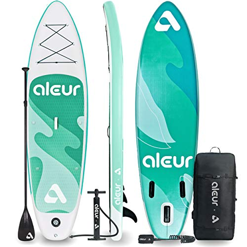 aleur 2020 Explorer Inflatable Stand Up Paddle Board Package W Premium SUP Accessories & Backpack, Non-Slip Deck, Leash, Paddle and Hand Pump | Elegant, Fun, Portable,Versatile (Lake Green)