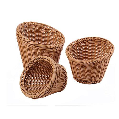waroomss 3pcs cestas de almacenamiento, ratán artificial tejida Durable plástico forma redonda Alimentos Servant cesta de almacenamiento Pot caliente Lactuca cesta para cocina Hogar francés Fries