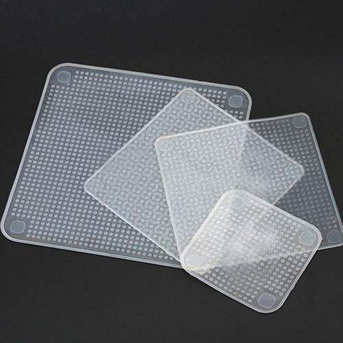 giveyoulucky Silicone Food Wrap Seal Cover Film Eco-Friendly Home Kitchen Tool Clear Square Reusable S