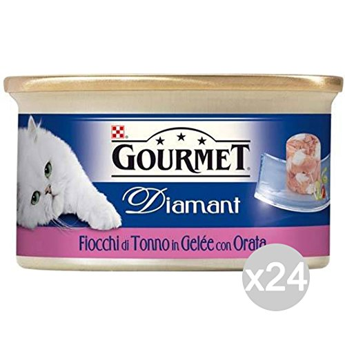 Set 24 PURINA Gourmet Diamant Gr 85 Daurade Thon Flocons Aliments Pour Chats