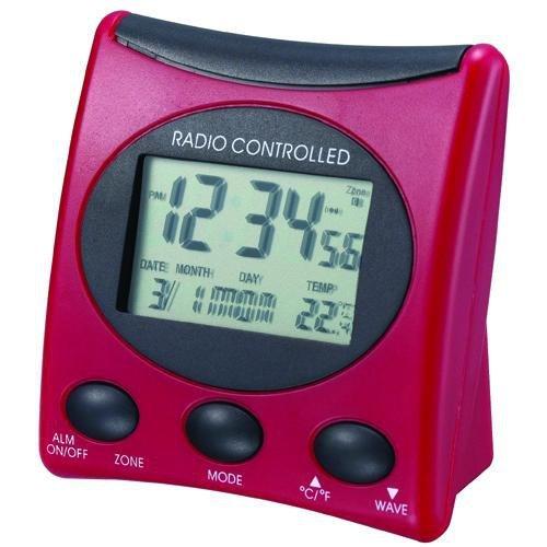 Der WT 221 ist ein klassischer Funkwecker mit Temperaturanzeige und digitaler Uhrzeitanzeige, rot - schwarz