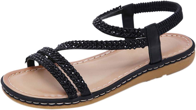 Meijunter Womens Flat Sandals - Fashion Ankle Strappy Peep Toe Tie Up Zipper Bohemian shoes with Rhinestone
