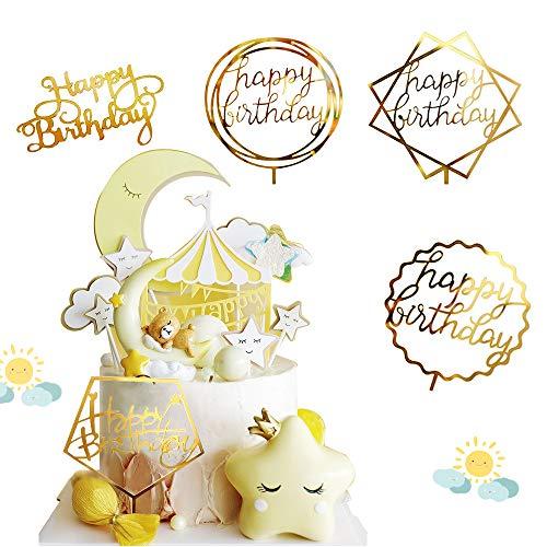 """VCOSTORE 5 PEZZI Decorazione per torte lucide con scritta in lingua inglese """"Happy Birthday"""" Cake Topper Party Cake Topper decorazione torta"""