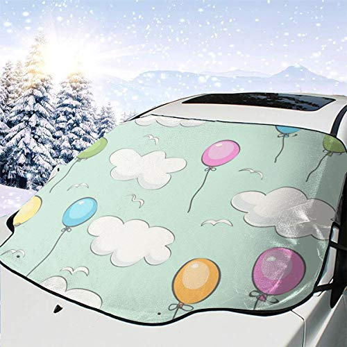 Gekleurde ballonnen en witte wolken auto sneeuw cover Frost zon voorruit schaduw waterdichte winter zomer auto voor auto vrachtwagen van en SUV gepersonaliseerd