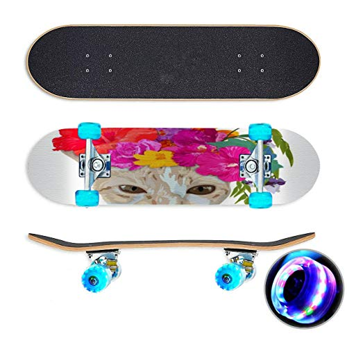 Gember kat hoofd slijtage Chaplet met kleurrijke bloem geïsoleerd op Skateboard Colorful Flashing Wheels Extreme Sports&Outdoors 31''Cruiser Complete Standard Longboard Beginners Kids Cool Boys Teen