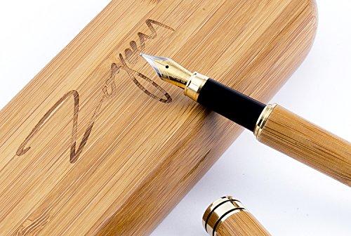 Der handgefertigte Füllfederhalter,Bambus Retro-Set zum Zeichnen und Schreiben,Bester Geschenk-Füllfederhalter,Sie erhalten einen Luxus Kalligraphie Füllfederhalter mit einer goldenen Füllerfeder
