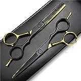 Tijeras de peluquería Profesional Kit de Adelgazamiento del Cabello Tijeras Set 440C del Corte del Pelo Tijeras de Peluquero Tijeras de Peluquero Estilista de 5,5 Pulgadas (Oro y Negro) (Color : A)