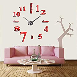 CreationStore Mirror Surface Decorative Clock 3D DIY Wall Clock for Living Room Bedroom Office Hotel Wall Decoration (Red)