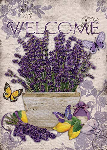 Furiaz Welcome Garden Flag Lavender Flowers, House Yard Decorative Small Flag Butterfly Lemon Home Outside Decorations Sign, Spring Summer Farmhouse Purple Burlap Outdoor Decor Flag Double Sided 12x18