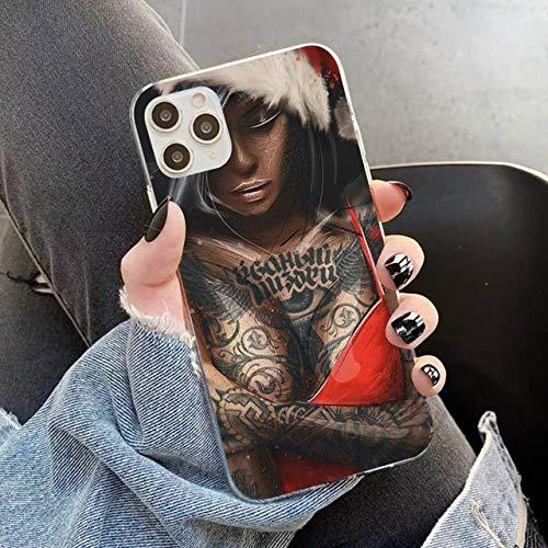 FYMIJJ Funda para teléfono con Tatuaje de Manga para iPhone 11 12 Pro XS MAX 8 7 6 6S Plus X 5S SE 2020 XR Funda, A13, para 12 Pro MAX