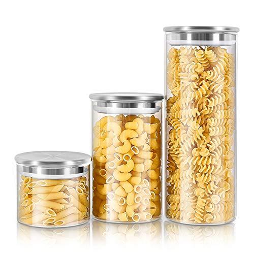 Eten Glass Storage Tank Sealed, Can met roestvrij stalen deksel Eten Voorraadbus Silicone Sealing Ring, voor Dienende Thee, koffie, Spice, Candy
