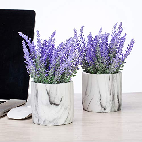Artificial Mini Potted Flowers Plant Lavender for Home Decor Party Wedding Garden Office Decoration (Marble 2set)