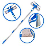 Extendable Window Cleaner with Squeegee and Spray, 3 Tools on 1 Long Extension Pole, Indoor or Outdoor Cleaning Equipment for Washing Mirror or Glass, Shower or Auto Cleaning Kit