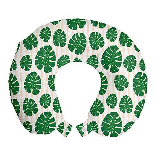 ABAKUHAUS Tropisch Reisekissen Nackenstütze, Vertikal Monstera Leaves, Schaumstoff Reiseartikel für Flugzeug und Auto, 30x30 cm, Grüne Champagne Weiß