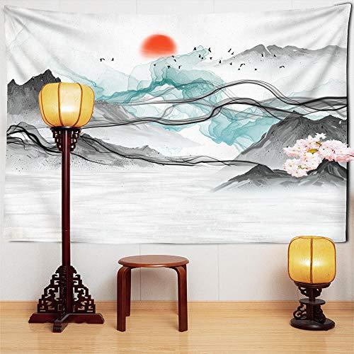 Tapiz de pintura de paisaje de sol tinta china montaña jardín árbol cepillo colgante de pared tapiz de sol rojo decoración del hogar 150x100cm/59x39inchch