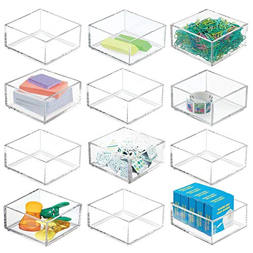 mDesign Plastic Stackable Drawer Organizer for Home Office Desk Drawer Shelf or Closet to Hold Staples Highlighters Adhesive Tape Paper Clips Stamps - 4 Square 12 Pack - Clear