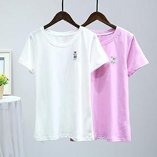 TW 2018春季新款时尚简约女式小熊刺绣圆领基础纯棉女装短袖T恤
