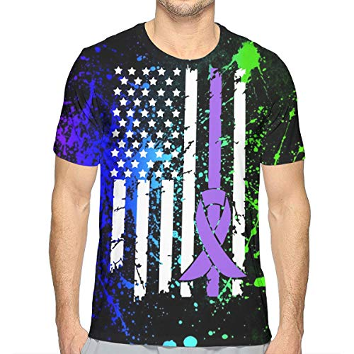 DFGHJZH-L Epilepsy Cancer Awareness USA Flag Mens Casual Adult Long Sleeve T-Shirt