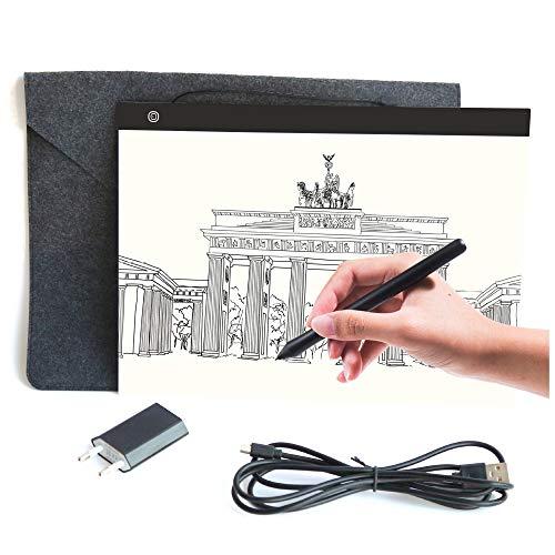 Professioneller Ultra Slim A3 LED Leuchttisch mit USB Ladegerät und hochwertiger Filzhülle | Light Pad | Leuchtkasten | Leuchtplatte zum Zeichnen | Helligkeit dimmbar