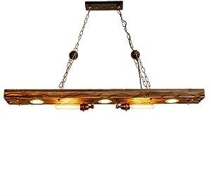 Lámpara colgante Retro Industrial diseño colgante lámpara vintage iluminación de madera metal E27araña para cocina comedor Bar Cafe (sin bombilla)