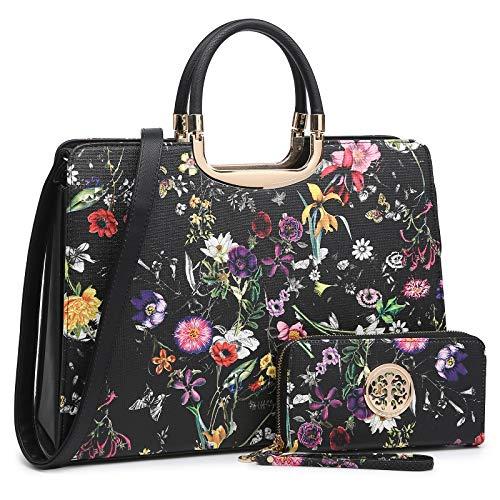 Women's Fashion Handbag Shoulder Bag Hinged Top Handle Tote Satchel Purse Work Bag with Matching Wallet (1-black Floral Wallet Set)
