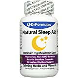 DrFormulas Melatonin 1 mg | Sleep Aid for Kids and Adults with Natural Herbs, L-Theanine, GABA Fast Acting 30 Pills Day Supply