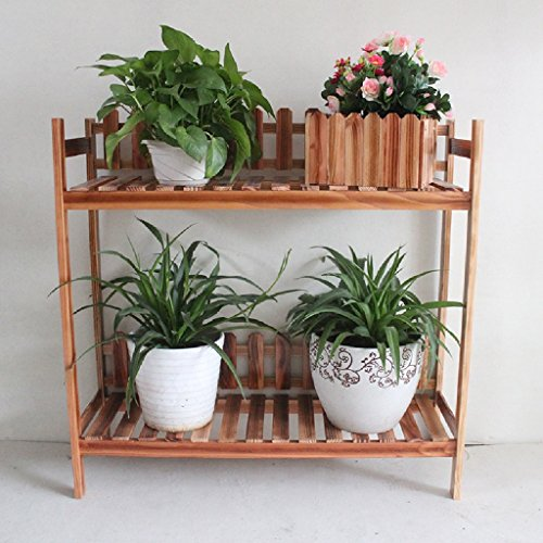 Support de fleurs en bois massif Étagères à étages multiples Bonsai Balcon Étagères à usage multiple à l'intérieur L * W * H: 83 * 27 * 80cm