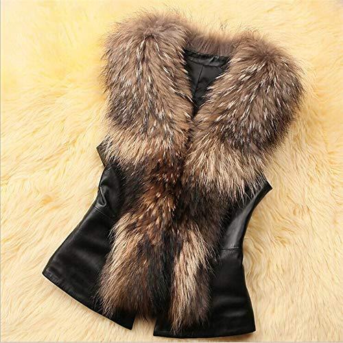 Vrouwen Faux Bont Vest Mode Faux PU Leer Winter Lichaam Warm Mouwloze Jassen Vrouwen Kunstbontkraag Jas Waistcoat Gilet