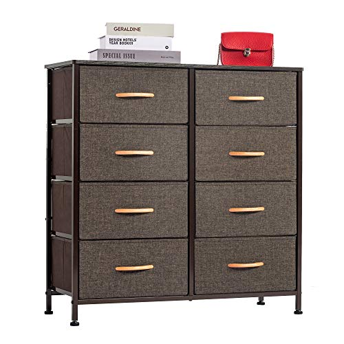 WAYTRIM 4-Tier Wide Drawer Dresser Storage Unit with 8 Easy Pull Fabric Drawers and Metal Frame Wood Top Organizer Unit for Bedroom Hallway Entryway Closets 315 x 1181 x 3212 Inches - Brown