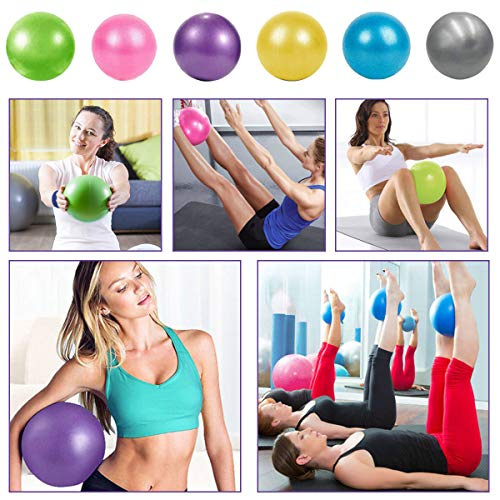 XIECCX Mini Yoga Balls 9 Exercise Ball Pilates Ball Therapy Ball Balance Ball Bender Ball Barre Equipment for Home Stability Squishy Training PhysicalCore Training Pink/Purple/Blue