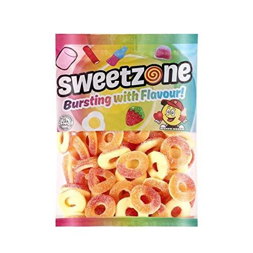 Sweetzone Fizzy Sour Peach Rings Fruit Flavoured Gum Sweets 1 Kilogram Bag