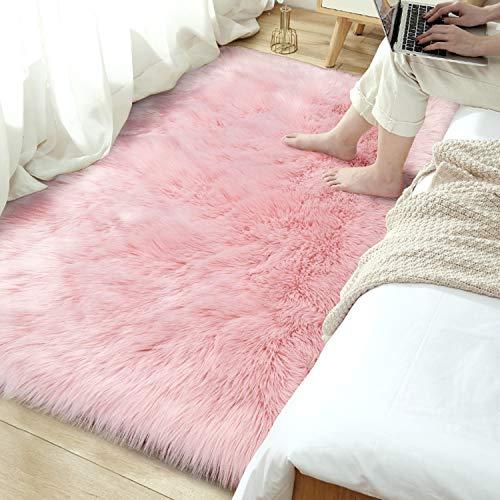 Terrug Ultra Soft Shag Bedroom Rugs,Luxury Pink Faux Fur Sheepskin Area Rugs for Living Room Dorm,Kids Girls Room Decor Carpets Nursery Home Floor Mats,Sofa Chair Pink Fluffy Rug 3ft x 5ft