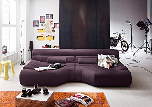 XXL Sofa Tara grote sofa woonlandschap stof aubergine lila met kussen 292x75x148cm (B/H/D)