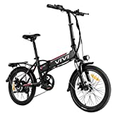 VIVI Folding Electric Bike, 20'' Electric Commuter Bike 350W Ebike, Electric Bicycles for Adults with 36V 8Ah Removable Lithium-ion Battery, Shimano 7 Speed